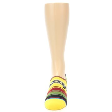 Image of Yellow Red Green Stripe Men's Liner Socks (front-05)