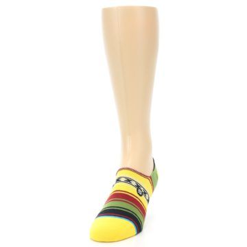 Image of Yellow Red Green Stripe Men's Liner Socks (side-2-front-06)