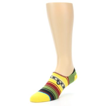 Image of Yellow Red Green Stripe Men's Liner Socks (side-2-front-08)