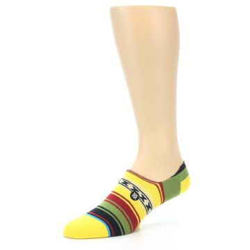 Image of Yellow Red Green Stripe Men's Liner Socks (side-2-09)