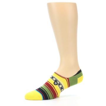 Image of Yellow Red Green Stripe Men's Liner Socks (side-2-10)