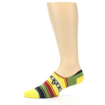 Image of Yellow Red Green Stripe Men's Liner Socks (side-2-11)