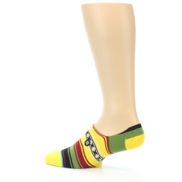 Image of Yellow Red Green Stripe Men's Liner Socks (side-2-13)