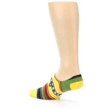 Image of Yellow Red Green Stripe Men's Liner Socks (side-2-back-14)