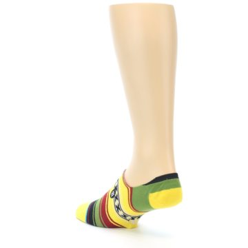 Image of Yellow Red Green Stripe Men's Liner Socks (side-2-back-15)