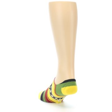 Image of Yellow Red Green Stripe Men's Liner Socks (side-2-back-16)