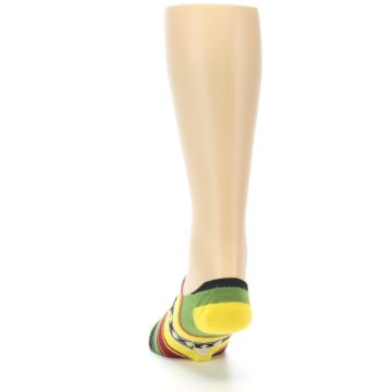 Image of Yellow Red Green Stripe Men's Liner Socks (back-17)