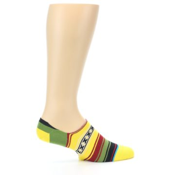 Image of Yellow Red Green Stripe Men's Liner Socks (side-1-24)