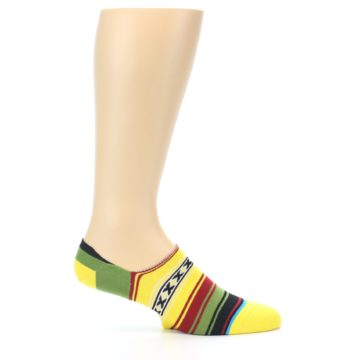 Image of Yellow Red Green Stripe Men's Liner Socks (side-1-25)