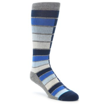 Image of Navy Blue Grey Partial Stripe Men's Casual Socks (side-1-front-01)