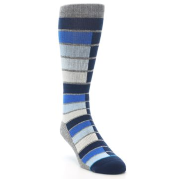 Image of Navy Blue Grey Partial Stripe Men's Casual Socks (side-1-front-02)