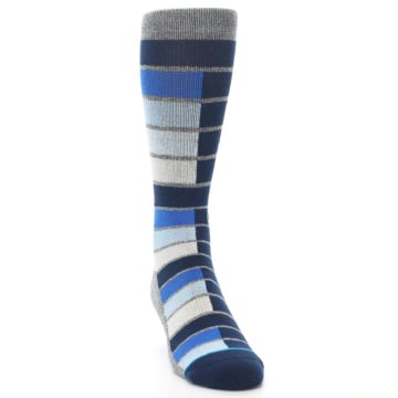 Image of Navy Blue Grey Partial Stripe Men's Casual Socks (side-1-front-03)