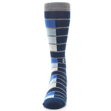 Image of Navy Blue Grey Partial Stripe Men's Casual Socks (front-05)
