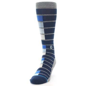 Image of Navy Blue Grey Partial Stripe Men's Casual Socks (side-2-front-06)