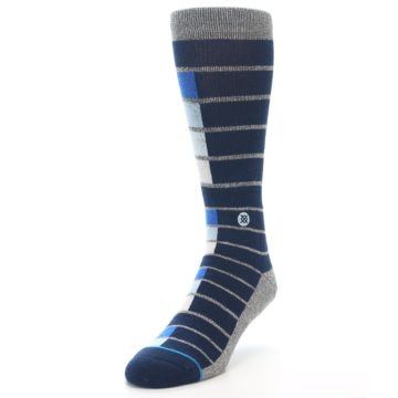 Image of Navy Blue Grey Partial Stripe Men's Casual Socks (side-2-front-07)
