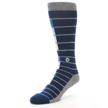 Image of Navy Blue Grey Partial Stripe Men's Casual Socks (side-2-front-08)