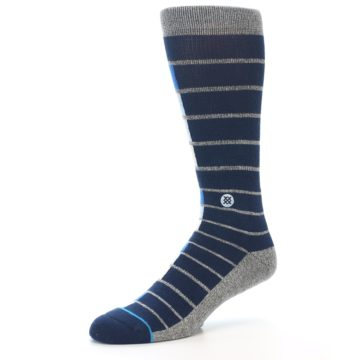 Image of Navy Blue Grey Partial Stripe Men's Casual Socks (side-2-09)
