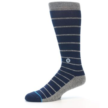 Image of Navy Blue Grey Partial Stripe Men's Casual Socks (side-2-10)