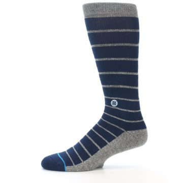 Image of Navy Blue Grey Partial Stripe Men's Casual Socks (side-2-11)