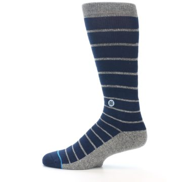 Image of Navy Blue Grey Partial Stripe Men's Casual Socks (side-2-12)