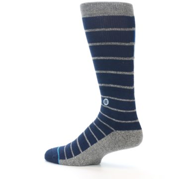 Image of Navy Blue Grey Partial Stripe Men's Casual Socks (side-2-13)