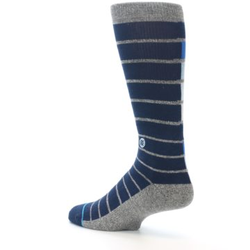 Image of Navy Blue Grey Partial Stripe Men's Casual Socks (side-2-back-14)