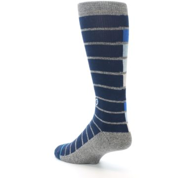 Image of Navy Blue Grey Partial Stripe Men's Casual Socks (side-2-back-15)