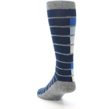 Image of Navy Blue Grey Partial Stripe Men's Casual Socks (side-2-back-16)