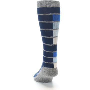 Image of Navy Blue Grey Partial Stripe Men's Casual Socks (back-17)