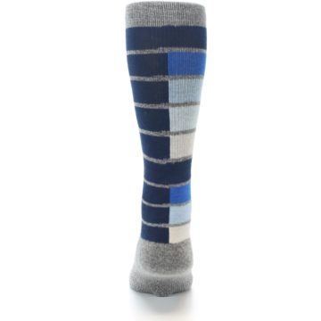 Image of Navy Blue Grey Partial Stripe Men's Casual Socks (back-18)