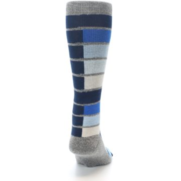 Image of Navy Blue Grey Partial Stripe Men's Casual Socks (back-19)
