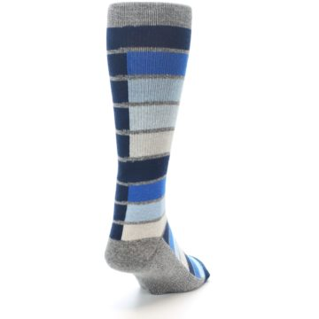 Image of Navy Blue Grey Partial Stripe Men's Casual Socks (side-1-back-20)