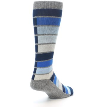 Image of Navy Blue Grey Partial Stripe Men's Casual Socks (side-1-back-21)