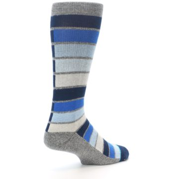 Image of Navy Blue Grey Partial Stripe Men's Casual Socks (side-1-back-22)
