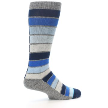 Image of Navy Blue Grey Partial Stripe Men's Casual Socks (side-1-23)