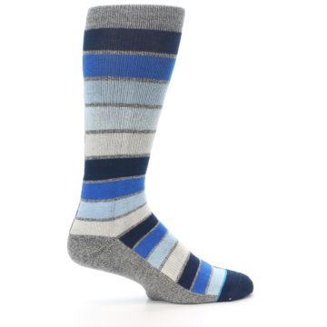 Image of Navy Blue Grey Partial Stripe Men's Casual Socks (side-1-24)