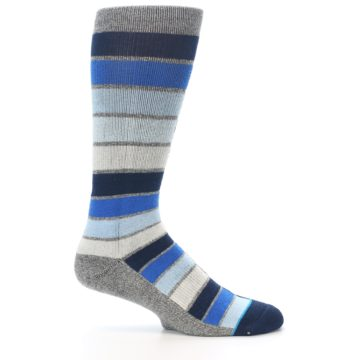 Image of Navy Blue Grey Partial Stripe Men's Casual Socks (side-1-25)