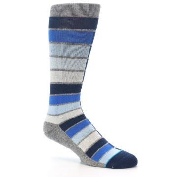 Image of Navy Blue Grey Partial Stripe Men's Casual Socks (side-1-26)