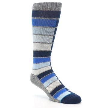 Image of Navy Blue Grey Partial Stripe Men's Casual Socks (side-1-27)