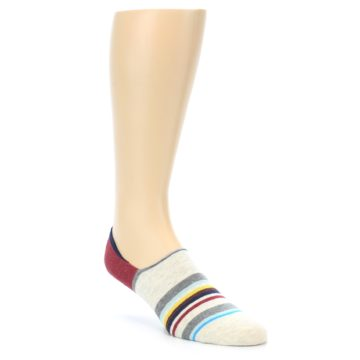 Image of Grey Red Stripe Men's Liner Socks (side-1-front-01)