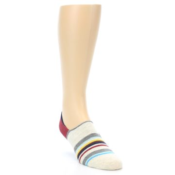 Image of Grey Red Stripe Men's Liner Socks (side-1-front-02)