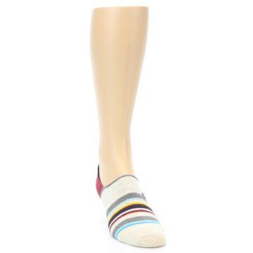 Image of Grey Red Stripe Men's Liner Socks (side-1-front-03)