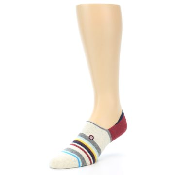 Image of Grey Red Stripe Men's Liner Socks (side-2-front-08)