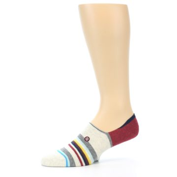 Image of Grey Red Stripe Men's Liner Socks (side-2-10)