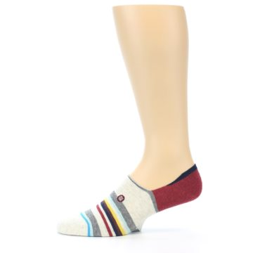 Image of Grey Red Stripe Men's Liner Socks (side-2-11)