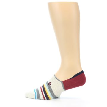 Image of Grey Red Stripe Men's Liner Socks (side-2-12)