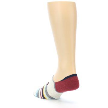 Image of Grey Red Stripe Men's Liner Socks (side-2-back-15)