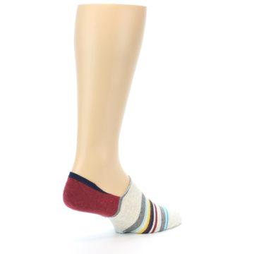 Image of Grey Red Stripe Men's Liner Socks (side-1-back-22)