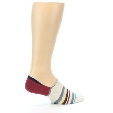 Image of Grey Red Stripe Men's Liner Socks (side-1-23)