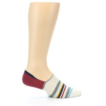 Image of Grey Red Stripe Men's Liner Socks (side-1-24)